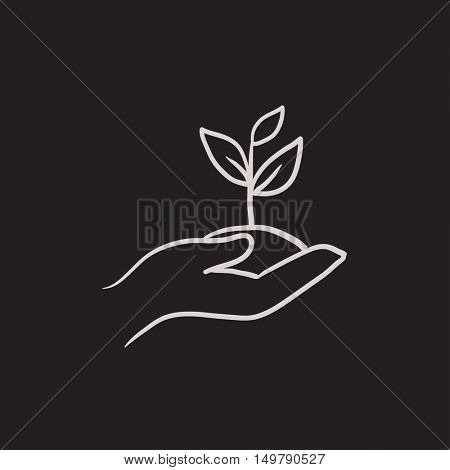Hands holding seedling in soil vector sketch icon isolated on background. Hand drawn Hands holding seedling in soil icon. Hands holding seedling in soil sketch icon for infographic, website or app.