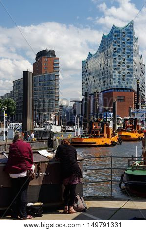 HAMBURG GERMANY - JULY 18 2015: the View of Hamburg from the port place Hamburg is the second largest city in Germany and the eighth largest city in the European Union.