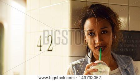 Girl Drinking Coffee In New York