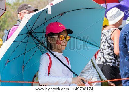 CHONBURI - FEBRUARY 27 : Girl wait for a match in Honda LPGA Thailand 2016 at Siam Country Club Pattaya Old Course on February 27 2016 in Chonburi Thailand.