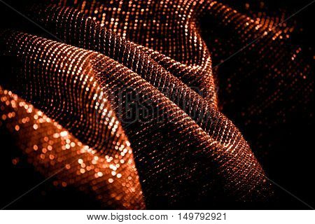 draped lurex fabric - warm copper colorspace