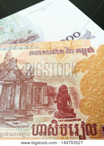 Close up of Cambodian Riels, Cambodia paper bank note money
