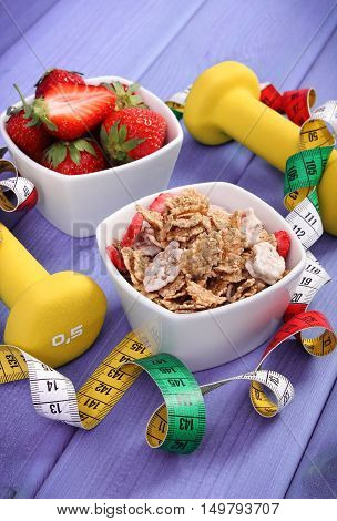 Fresh Strawberries, Wheat And Rye Flakes, Dumbbells And Centimeter, Healthy And Sporty Lifestyle