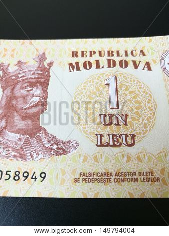 Moldovan leu, close up of Moldova paper bank note money