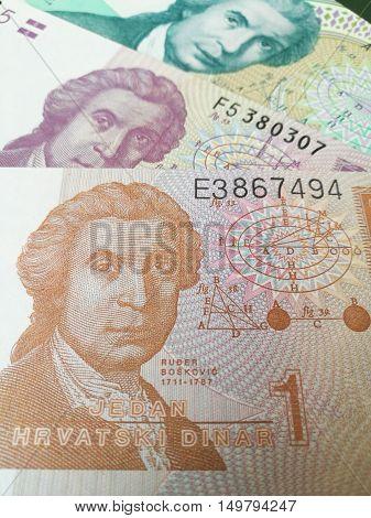 Republika Hrvatska money background, close up of Croatian kuna