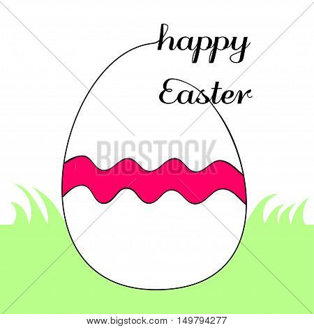 Stylized egg with undulated decorative red band, on green grass. Outline eggs deliberately not closed and is connected to the text Happy Easter.