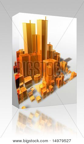 Software package box Abstract generic city with modern office buildings illustration poster