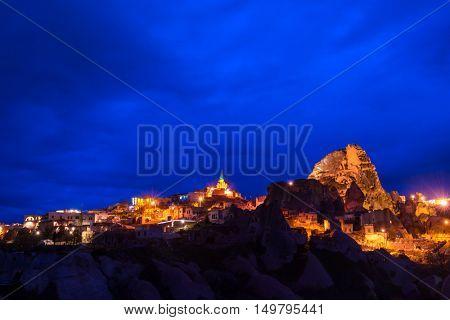 Night view of Uchisar castle in Cappadocia, Turkey.