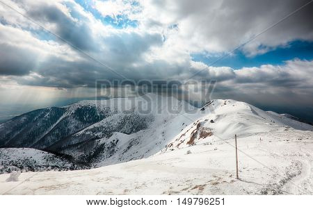 Winter mountain landscape - Mala Fatra at day