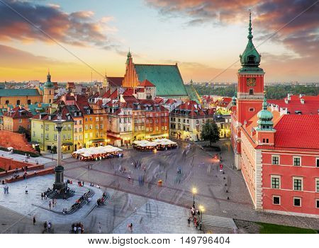 Night panorama of Old Town in Warsaw Poland