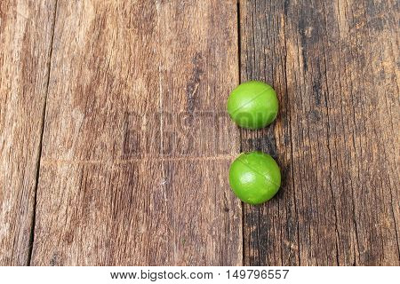 lime on the wooden table top view
