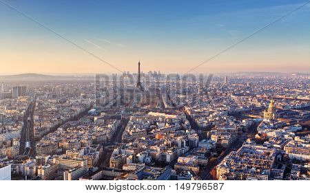 Panorama of Paris at sunset in France
