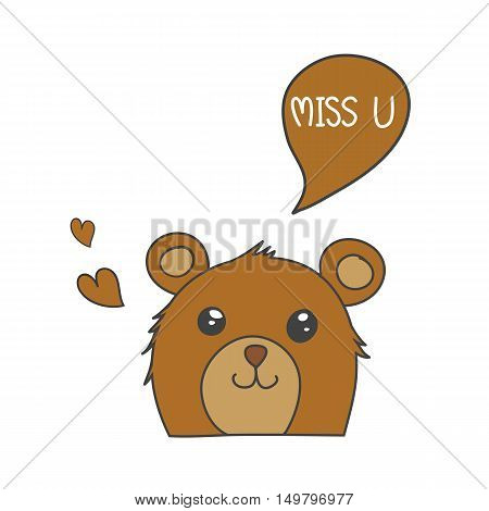 Brown bear smile with speech bubble