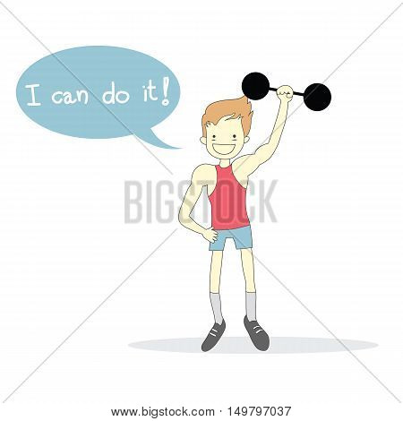 man Weight-lifting with word I can do it! vector