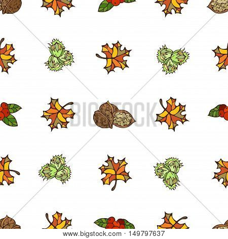 Bright autumn leaves, hazelnuts, cranberries and walnuts on white background. Boundless pattern for your design. Fall background.