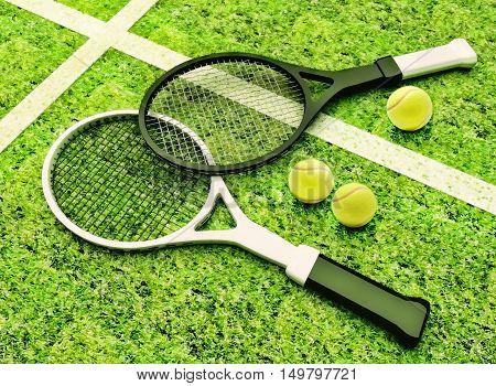 Tennis; racket; tennis grass court. 3D illustration