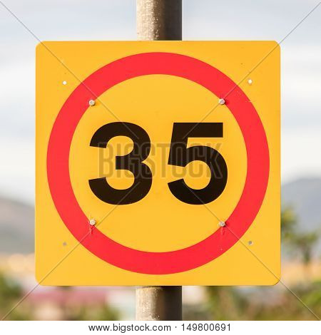 Traffic Sign Restricting Speed To 35 Kilometers Per Hour