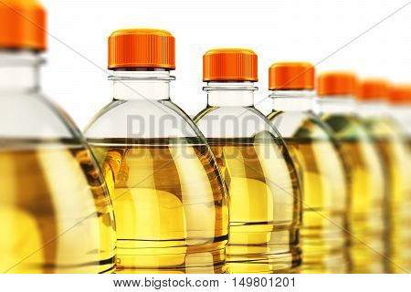 3D render illustration of the row of plastic bottles with yellow refined vegetable cooking oil or organic fat isolated on white background with selective focus effect