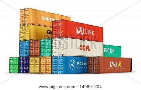 3D render illustration of the group of color 40 ft stacked metal heavy cargo containers isolated on white background