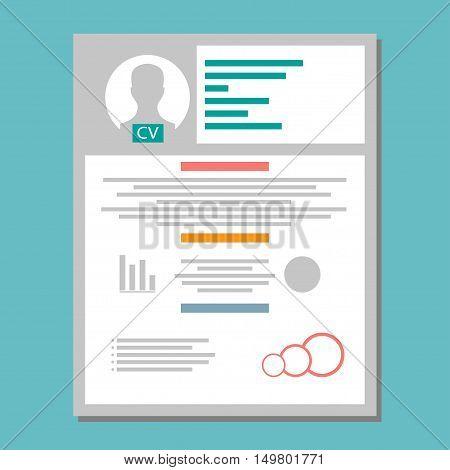 CV. Resume template design with profile photo CV icon. Vector illustration
