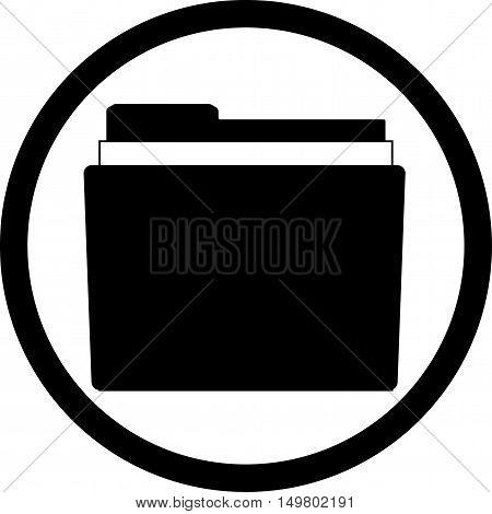 Icon file storage folder. Black white style. File folder icon document folder. Vector illustration