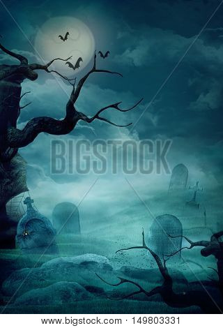 Halloween design background with spooky graveyard naked trees graves and bats and Copyspace