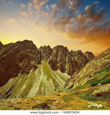 Mountain Satan. Mengusovska Valley in Vysoke Tatry (High Tatras) at sunset, Slovakia