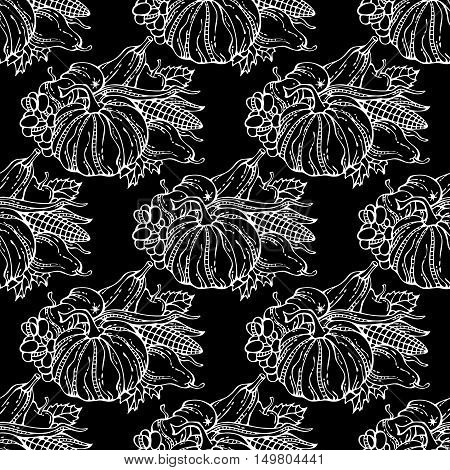 Vector Seamless Chalk Harvest Pattern.