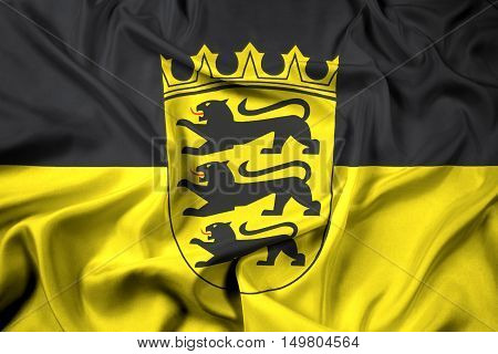 Waving Flag Of Baden-wurttemberg With Coat Of Arms, Germany
