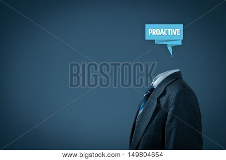 Proactive businessman concept. Businessman with abstract brain and text proactive.