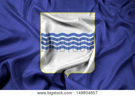 Waving Flag of Basilicata Italy, with beautiful satin background. 3D illustration
