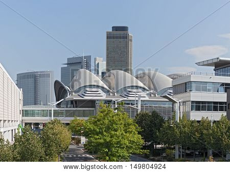 FRANKFURT, GERMANY - SEPTEMBER 23, 2016: Buildings on the site of frankfurt fairgrounds