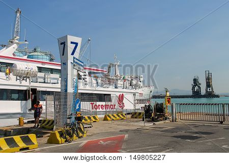 Piombino Italy - June 30 2015: Ferry boat Marmorica cruising to Island of Elba. Ferry with capacity 470 passengers and 106 vehicles
