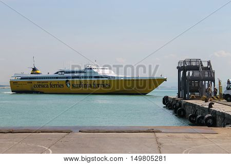 Piombino Italy - June 30 2015: Ferry boat Corsica Express at berth in the seaport