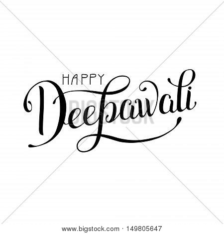 black and white hand lettering inscription Happy Deepawali to indian fire festival, calligraphic vector illustration