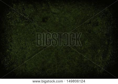 Dark Green Scratched Grunge Wall Background Or Texture
