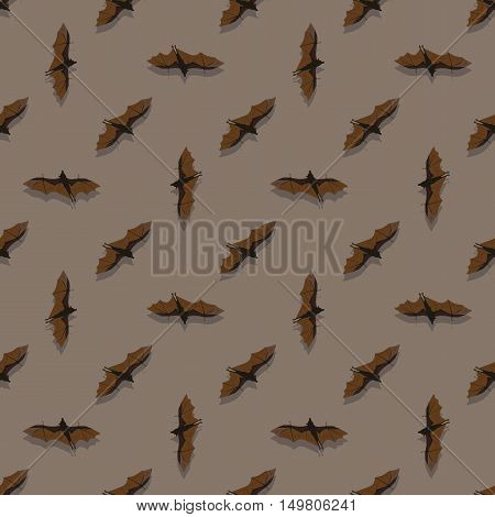 Seamless pattern with bats on brown background
