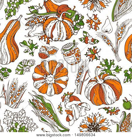 Vector Seamless Bright Thanksgiving Pattern.