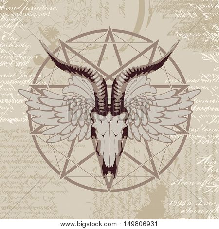 pentagram with the image of a goat skull on the background of the papyrus with occult symbols