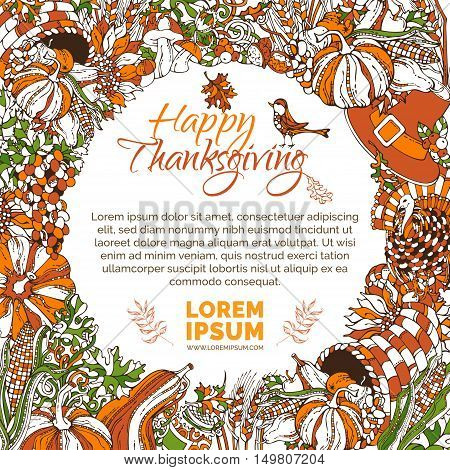 Vector Bright Thanksgiving Background.