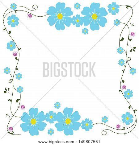 frame blue flower and line swirl vector