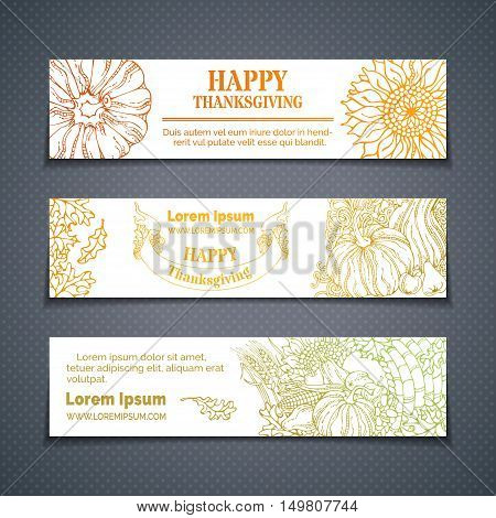 Vector Set Of Outlined Thanksgiving Horizontal Banners.