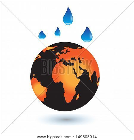 Global warming. This earth irradiation concept is an awesome depiction a worldwide energy disaster. Elements of this image furnished by NASA.Vector Illustration EPS 10