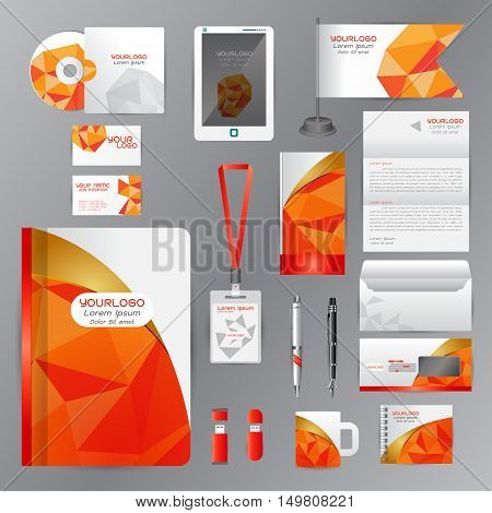 White identity template with Orange origami elements. Vector company style for brandbook guideline and Pens mugs CDs books business cards letterhead flag Card Portfolio employees Tablet