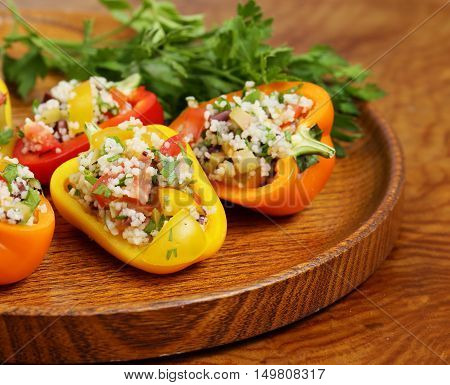 appetizer salad of peppers stuffed with cous cous