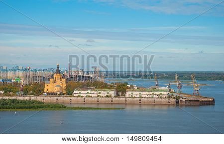 View of the waterfront city of Nizhny Novgorod and merge Oka and Volga rivers