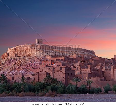 Famous Ait Benhaddou Casbah Near Ouarzazate City In Morocco