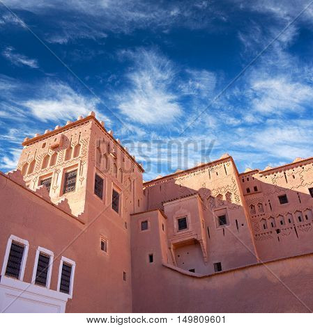 OUAZARZATE, MOROCCO - JANUARY 8, 2014: Famous Kasbah Taourirt in Eastern Ouarzazate