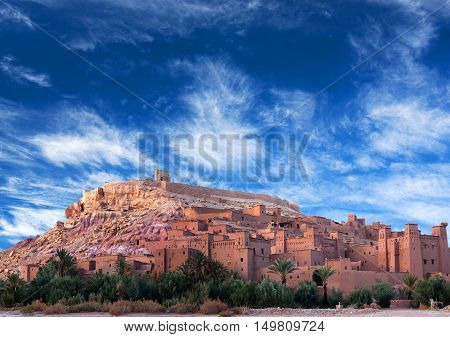 Famous Ait Benhaddou Casbah near Ouarzazate city in Morocco, North Africa