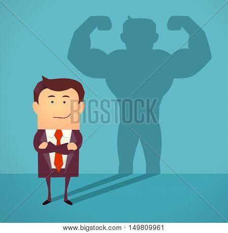 Businessman casting strong man shadow. Successful businessman concept. Vector illustration.